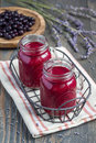 Black currant, greek yogurt, honey and lavender smoothie in glass  with berries and flowers on background, vertical Royalty Free Stock Photo