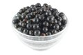 Black currants in a glass bowl Royalty Free Stock Images