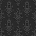 Black 3d Floral Damask Seamless Pattern Royalty Free Stock Photo