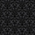 Black damask vintage floral pattern