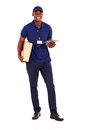 Black delivery guy Stock Image