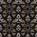 Dark design background. Anchor Wheel Vector seamless pattern isolated on black background. Male nautical texture decor.