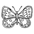 Black doodle decorative ornate butterfly isolated on white backg Royalty Free Stock Photo