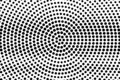 Black dots on white background. Abstract perforated surface. Grunge halftone vector texture. Centered dotwork gradient Royalty Free Stock Photo