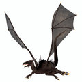 Black dragon a creature of myth and fantasy the is a fierce flying monster with horns and large teeth Royalty Free Stock Image
