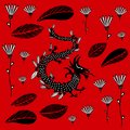 stock image of  Black Dragon on a red background