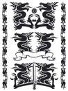 Black dragon set 02 Royalty Free Stock Photography