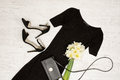 Black Dress, Shoes, Clutch And...