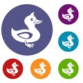 Black duck icons set