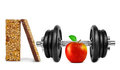 Black dumbbell with apple and muesli bars on white background Stock Photography