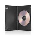 Black DVD box with disc inside on white Royalty Free Stock Photo