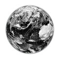 Black earth planet with clouds isolated on white background elements of this image furnished by nasa Stock Photo