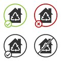 Black Eco House with recycling symbol icon isolated on white background. Ecology home with recycle arrows. Circle button Royalty Free Stock Photo