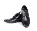 The black elegant men's shoes on white isolated background Royalty Free Stock Photo