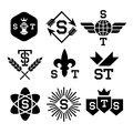 Black emblems with helmet shield arrow atom Royalty Free Stock Photography