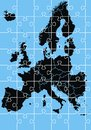 Black europe map on the blue background Royalty Free Stock Photo
