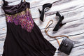 Black evening dress. Royalty Free Stock Photo
