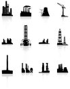 Black factory icons set vector Royalty Free Stock Photos