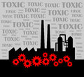 Black factory on toxic background Stock Photography