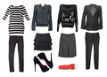 Black female clothes set. Collage of women clothing isolated. Royalty Free Stock Photo