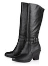 Black female fashionable leather boots Royalty Free Stock Images