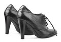 Black female shoes on a white background Royalty Free Stock Photo