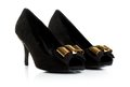 Black female velvet shoes  over white background Royalty Free Stock Photo