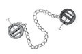Black fetish nipple clamps with chain isolated on white Royalty Free Stock Images