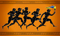 Black-figured runners with the torch in the colors of the Brazilian flag. Illustration in the ancient Greek style. Royalty Free Stock Photo