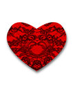 Black fine lace floral texture red heart filled with Royalty Free Stock Photo