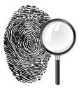 Black fingerprint and magnifying glass loupe Stock Photography