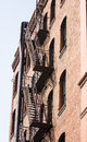 Black Fire Escape on Old Red Brick Building Royalty Free Stock Images
