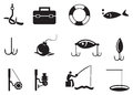 Black fishing icons on white background vector illustration of isolated Royalty Free Stock Image