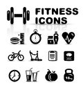 Black fitness icon set Stock Photo