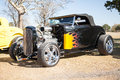 Black flaming hot rod with chrome Royalty Free Stock Photo