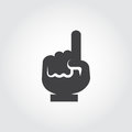Black flat human hand icon with finger pointing up. Attention, information, upstairs sign, navigation concept Royalty Free Stock Photo