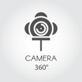 Black flat line icon of camera 360 degree. Concept of virtual panorama view