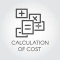 Black flat line vector icon of calculation of cost concept. Symbol estimate outlay. Dealing with debit and credit