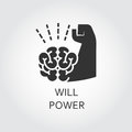 Black flat vector icon willpower as brain and muscle hand Royalty Free Stock Photo