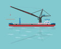 Black floating crane vector illustration eps Stock Photos