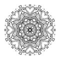 Black floral mandala with hearts