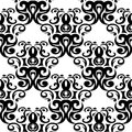 Black floral seamless ornament on white background
