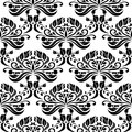 Black floral seamless pattern on white background