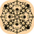 Black floral square design on beige Stock Images
