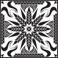 Black flower scarf big and white design for and bandana Royalty Free Stock Photos