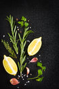 Black food background with fresh aromatic herbs and spices copy top view Royalty Free Stock Photo