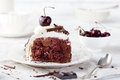 Black forest cake ,decorated with whipped cream and cherries Schwarzwald pie