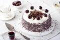 Black forest cake, Schwarzwald pie, dark chocolate and cherry dessert.
