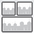 Black frame and city illustration Royalty Free Stock Image