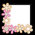 Black frame with pink orange and beige flowers over white background Stock Photography